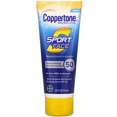 Купить Coppertone Sport Face, Sunscreen Lotion, SPF 50, 2.5 fl oz (74 ml)