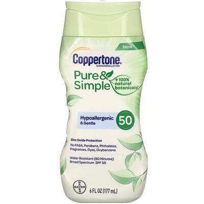 Coppertone Pure & Simple, Sunscreen Lotion, SPF 50, 6 fl oz (177 ml)