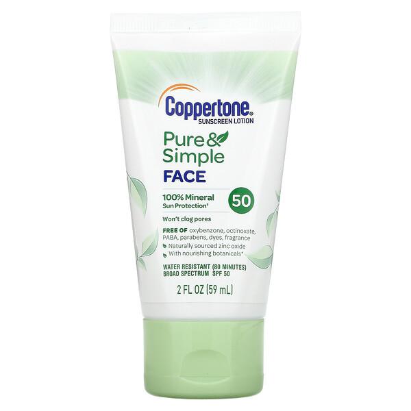 Coppertone, Pure & Simple, Sunscreen Lotion, For Face, SPF 50, 2 fl oz (59 ml)