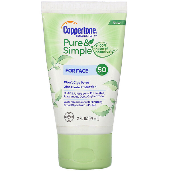 Pure & Simple, Sunscreen Lotion, For Face, SPF 50, 2 fl oz (59 ml)