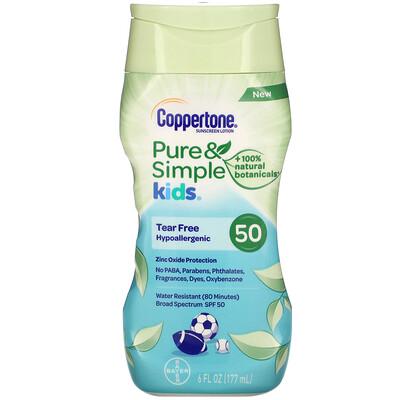 Coppertone Kids, Pure & Simple, Sunscreen Lotion, SPF 50, 6 fl oz (177 ml)  - Купить