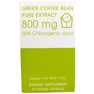 Creative Bioscience, 生コーヒー豆, ピュアエキス, 800 mg, 60粒(ベジタリアンカプセル)