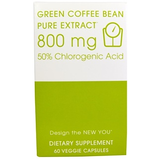Creative Bioscience, 볶지 않은 커피 콩, 순수 추출물, 800 mg, 60 베지 캡슐