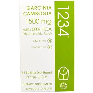 Creative Bioscience, جاريسينا كامبوجيا 1234، 1500 ملغم، 60 كبسولة نباتية