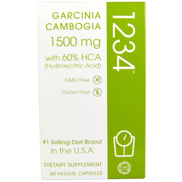 Garcinia Cambogia 1234, 1,500 mg, 60 Veggie Caps