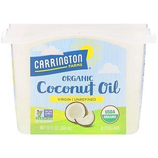 Carrington Farms, オーガニックココナッツオイル、ヴァージン - 未精製、12液体オンス(355 ml)