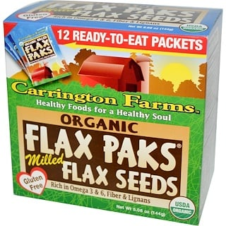 Carrington Farms, Organic Flax Paks, Milled Flax Seeds, 12 Packs, .4 oz (12 g) Each
