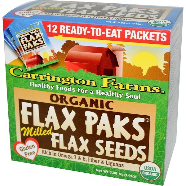 Carrington Farms, Organic Flax Paks, Milled Flax Seeds, 12 Packs, .4 oz (12 g) Each (Discontinued Item)