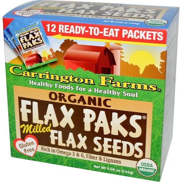 Carrington Farms, أكياس كتان عضوية، بذور كتان مطحونة، 12 كيس، 0.4 أوقية (12 غرام) كل كيس (Discontinued Item)
