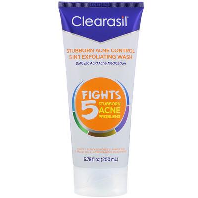 Купить Clearasil Stubborn Acne Control, 5-in-1 Exfoliating Wash, 6.78 fl oz (200 ml)