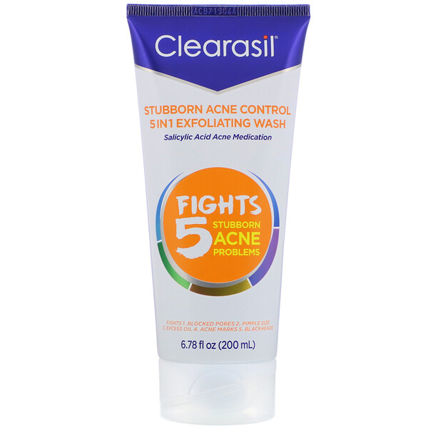 Clearasil, Stubborn Acne Control, 5-in-1 Exfoliating Wash,  6.78 fl oz (200 ml)