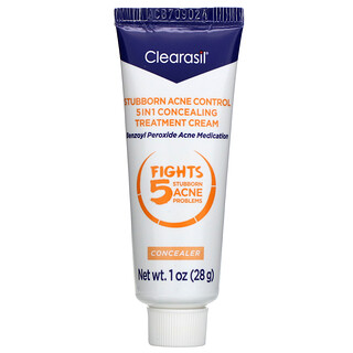 Clearasil, Stubborn Acne Control, 5-in-1 Concealing Treatment Cream, 1 oz (28 g)