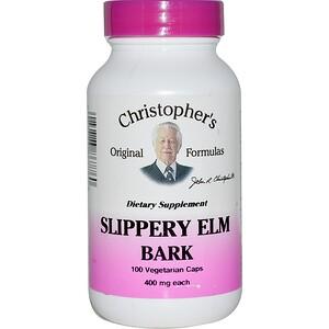 Кристоферс Оригинал Формулас, Slippery Elm Bark, 400 mg, 100 Vegetarian Caps отзывы