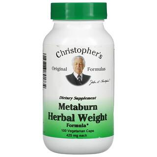 Christopher's Original Formulas, Metaburn Herbal Weight Formula, 425 mg, 100 Vegetarian Caps