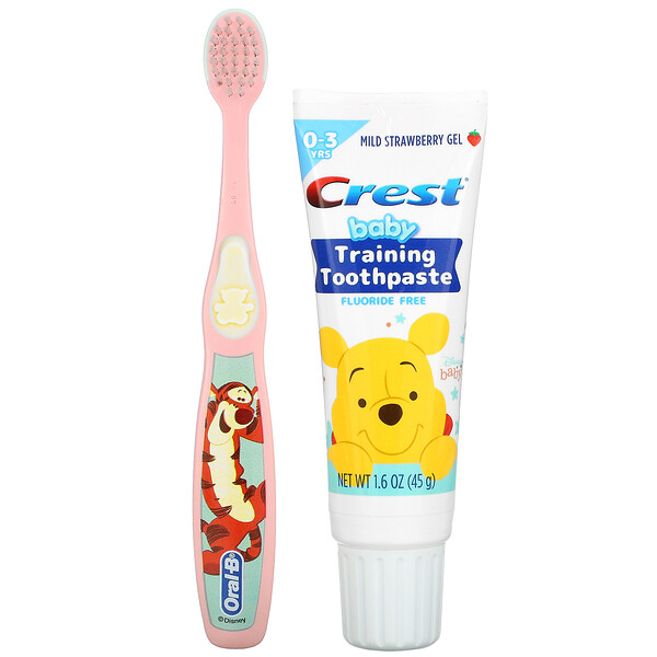 Baby Training Toothpaste Kit, Soft, 0-3 Years, Winnie the Pooh, Mild Strawberry, 1 Kit