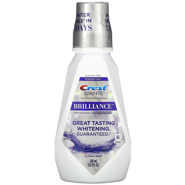 3D White, Brilliance Whitening Mouthwash, Clean Mint, Alcohol Free, 16.9 fl oz (500 ml)