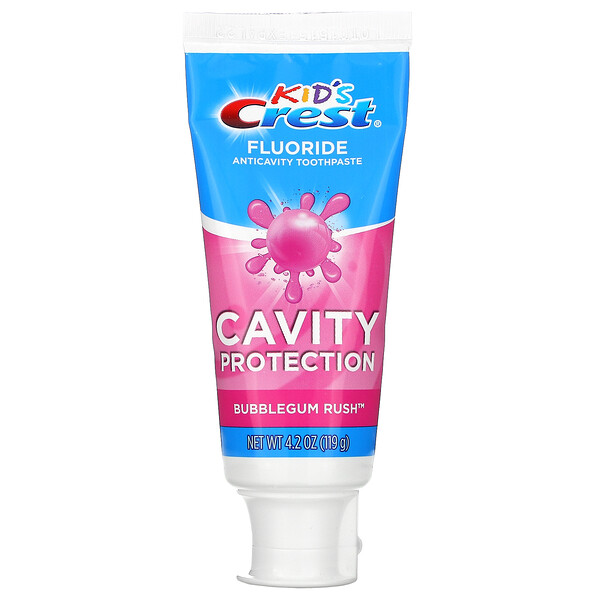Crest, Kids, Fluoride Anticavity Toothpaste, For Ages 2+, Bubblegum Rush, 4.2 oz (119 g)