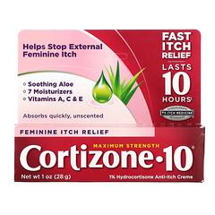Cortizone 10, 1% 氫化可的松瘙癢緩解膏,女性瘙癢緩解膏,特強型,1 盎司(28 克)