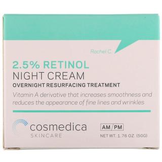 Cosmedica Skincare, 2.5% Retinol Night Cream, Overnight Resurfacing Treatment, 1.76 oz (50 g)