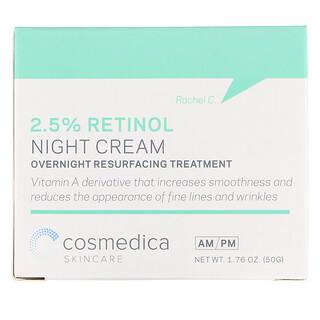 Cosmedica Skincare, Ночной крем с 2,5% сывороткой ретинола, ночная омолаживающая процедура, 1,76 унц. (50 г)