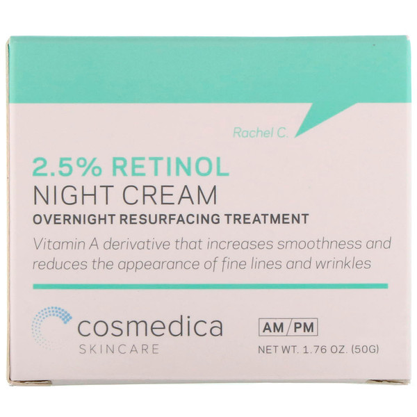 Cosmedica Skincare, 2.5% Retinol Night Cream, Overnight Resurfacing Treatment, 1.76 oz (50 g)