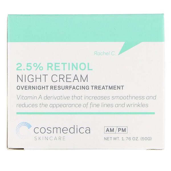 Cosmedica Skincare, 2.5% レチノールナイトクリーム、オーバーナイトリサーフェイシングトリートメント、1.76オンス (50 g)
