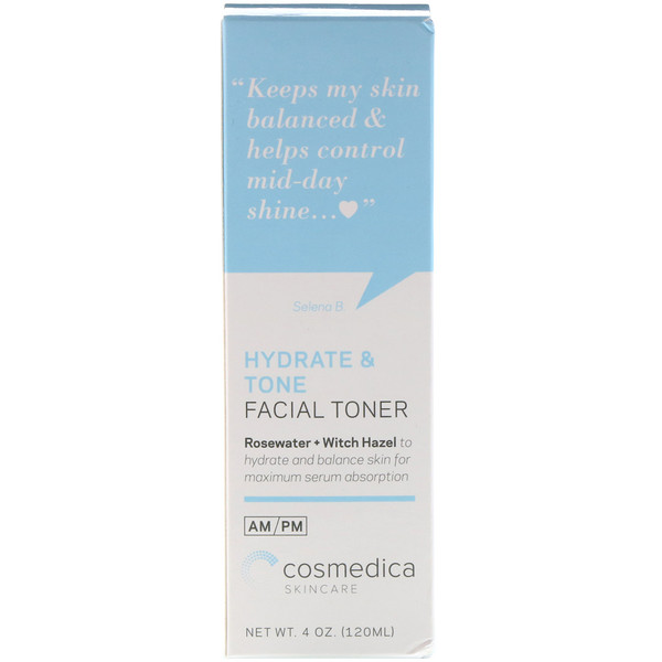 Cosmedica Skincare, Hydrate & Tone Facial Toner, Rosewater + Witch Hazel, 4 oz (120 ml)