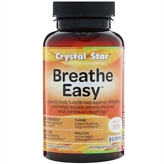 Crystal Star, Breathe Easy, 60 Vegetarian Capsules