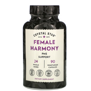 Crystal Star, Female Harmony, PMS Support, 90 Vegetarian Capsules