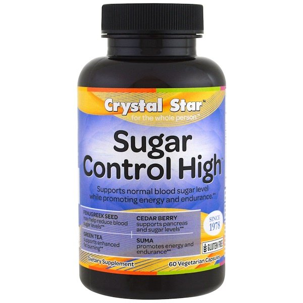 Crystal Star, Alto Control de Azúcar, 60 cáp. vegetales (Discontinued Item)