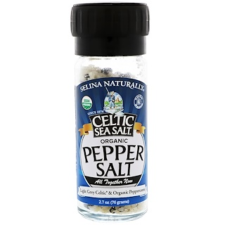 Celtic Sea Salt, Organic, Pepper Salt, Light Grey Celtic & Organic Peppercorns, 2.7 oz (76 g)