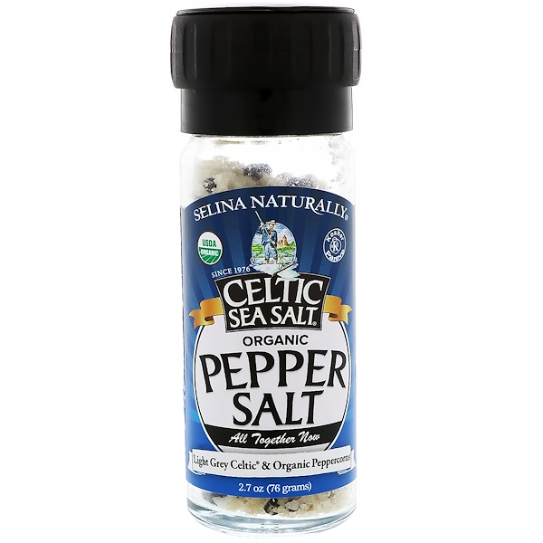 Celtic Sea Salt, Organic, Pepper Salt, Light Grey Celtic & Organic Peppercorns, 2.7 oz (76 g) (Discontinued Item)