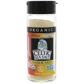 Celtic Sea Salt, Organic, Artisan, Garlic Salt, 2.4 oz (68 g)