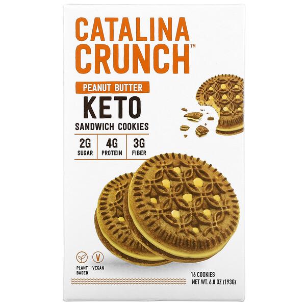Keto Sandwich Cookies, Peanut butter, 16 Cookies, 6.8 oz (193 g)