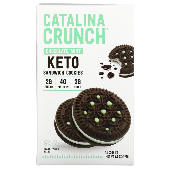 Keto Sandwich Cookies, Chocolate Mint, 16 Cookies, 6.8 oz (193 g)
