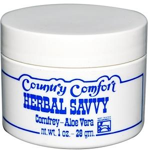 Кантри Комфорт, Herbal Savvy, Comfrey-Aloe Vera, 1 oz (28 g) отзывы