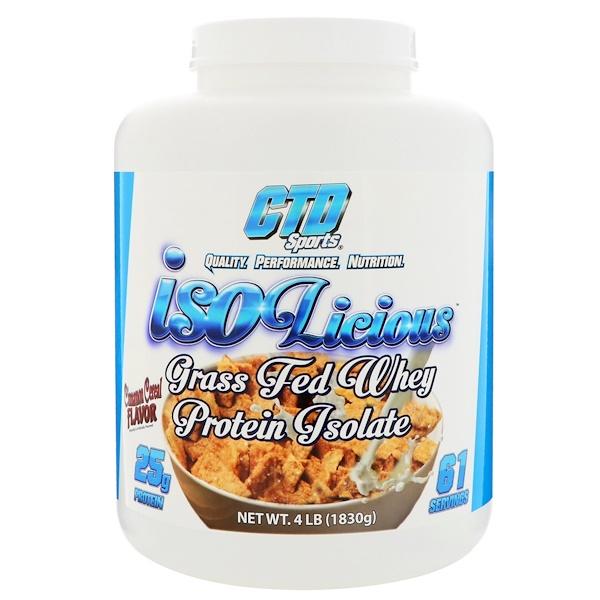 CTD Sports, Isolicious グラスフェッドホエイプロテインアイソレート、シナモンシリアル風味、4 lb (1830 g) (Discontinued Item)
