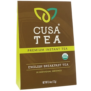 Cusa Tea, Organic, English Breakfast Tea, 10 Individual Servings, 0.04 oz (1.2 g) Each