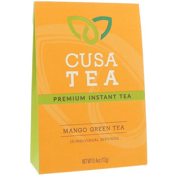 Cusa Tea, Mango Green Tea, 10 Individual Servings, 0、04 oz (1、2 g) Each