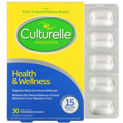 Culturelle Probiotics, Health & Welness, 15 Billion CFUs, 30 Once Daily Vegetarian Capsules