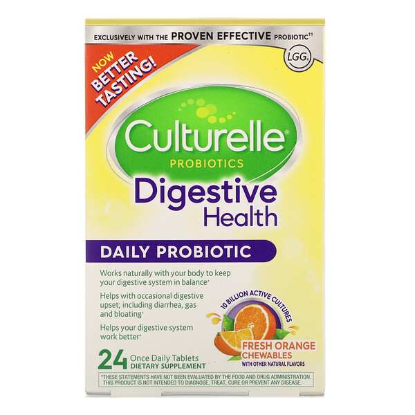 Probiotics, Digestive Health, Daily Probiotic, Fresh Orange Chewables, 24 Once Daily Tablets