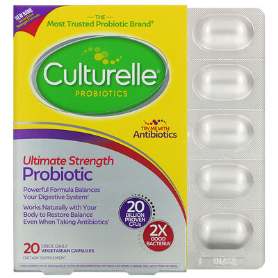 Culturelle Probiotics, Ultimate Strength Probiotic, 20 Billion CFUs, 20 Once Daily Vegetarian Capsules