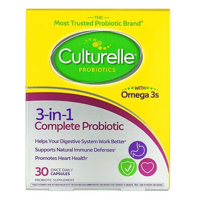 Culturelle Probiotics, 3-in-1 Complete Probiotic with Omega 3s, 30 Once Daily Capsules
