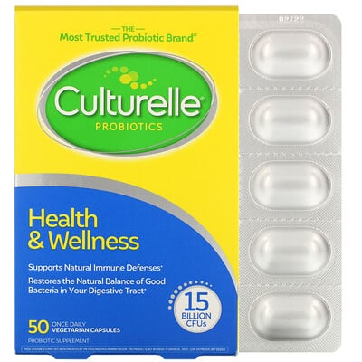 Culturelle Probiotics, Health & Wellness, 15 Billion CFUs, 50 Once Daily Vegetarian Capsules