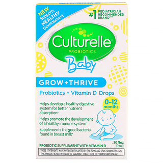 Culturelle, Probiotics, Baby, Grow + Thrive, Probiotics + Vitamin D Drops, 0-12 Months, .30 fl oz (9 ml)