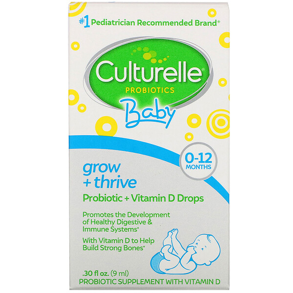 Probiotics, Baby, Grow + Thrive, Probiotics + Vitamin D Drops, 0-12 Months, .30 fl oz (9 ml)