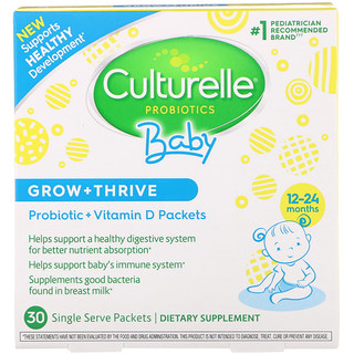 Culturelle, Probiotics, Baby, Grow + Thrive, Probiotics + Vitamin D Packets, 12-24 Months, 30 Single Serve Packets