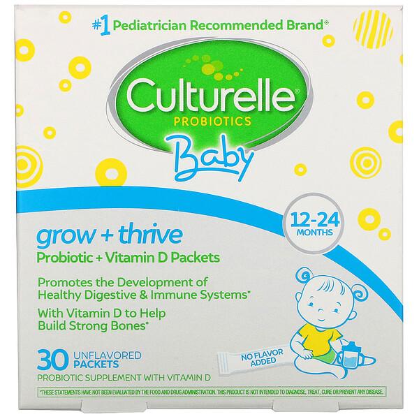益生菌,嬰兒,生長 + 茁壯成長,益生菌 + 維生素 D 包,12-24 個月,原味,30 個單份包