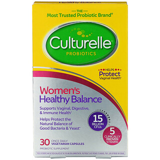 Culturelle, пробиотики, здоровый баланс для женщин, 30вегетарианских капсул для ежедневного одноразового приема