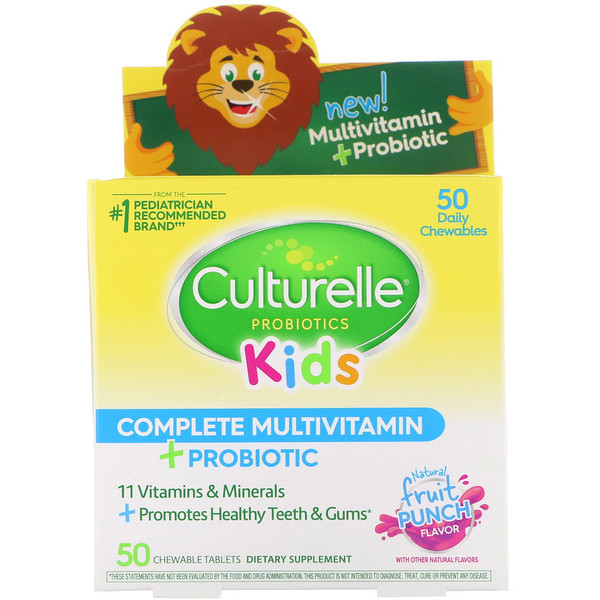 Culturelle, Kids Complete Multivitamin Plus Probiotic, Fruit Punch, 50 Chewable Tablets